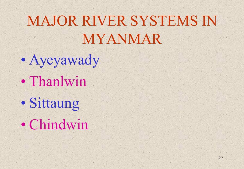 22 MAJOR RIVER SYSTEMS IN MYANMAR Ayeyawady Thanlwin Sittaung Chindwin