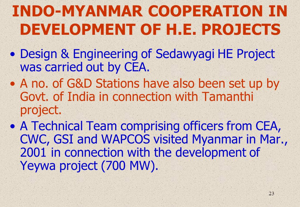 23 INDO-MYANMAR COOPERATION IN DEVELOPMENT OF H.E.