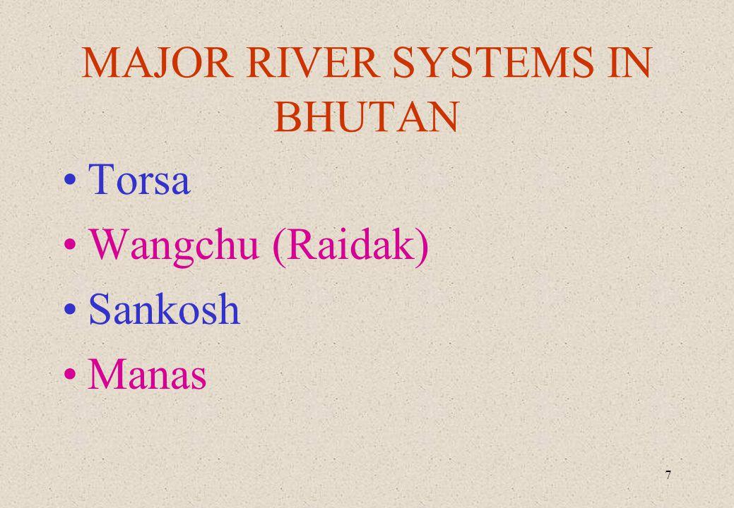 7 MAJOR RIVER SYSTEMS IN BHUTAN Torsa Wangchu (Raidak) Sankosh Manas