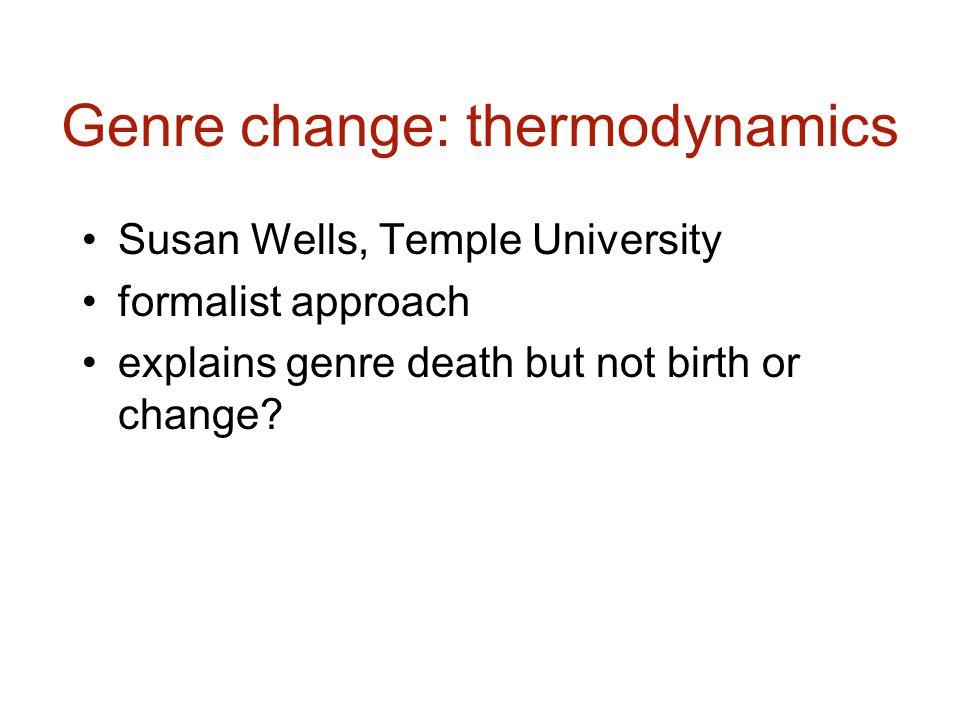 Genre change: thermodynamics Susan Wells, Temple University formalist approach explains genre death but not birth or change