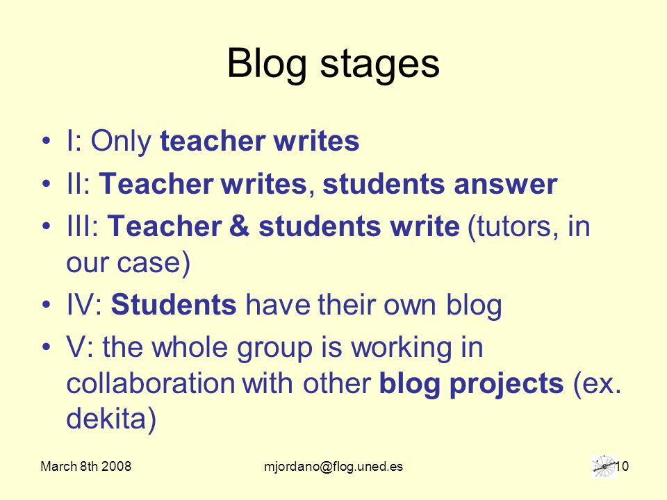 March 8th 2008mjordano@flog.uned.es 10 Blog stages I: Only teacher writes II: Teacher writes, students answer III: Teacher & students write (tutors, in our case) IV: Students have their own blog V: the whole group is working in collaboration with other blog projects (ex.