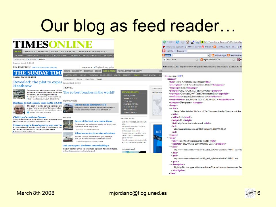 March 8th 2008mjordano@flog.uned.es 16 Our blog as feed reader…