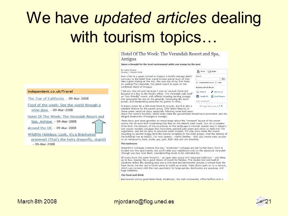 March 8th 2008mjordano@flog.uned.es 21 We have updated articles dealing with tourism topics…