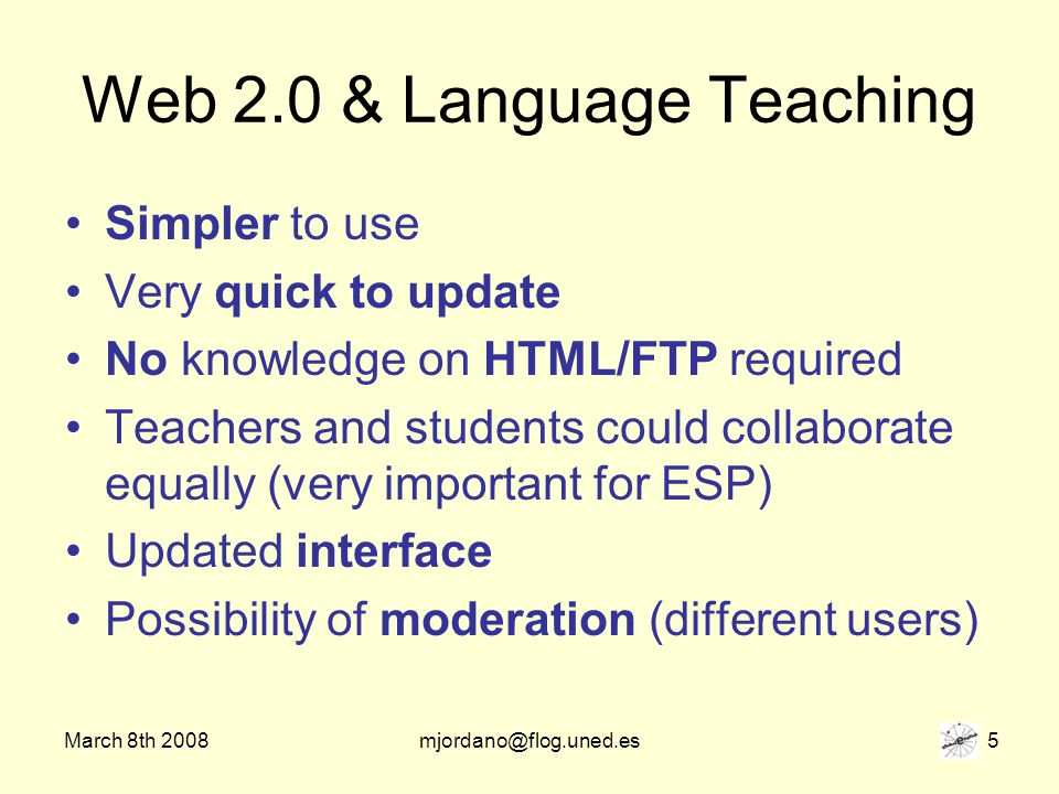March 8th 2008mjordano@flog.uned.es 26 Links to other… Sites Dictionaries Students blogs Teachers blogs Social-bookmarking