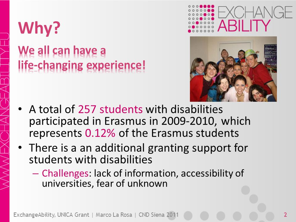 Why? ExchangeAbility, UNICA Grant | Marco La Rosa | CND Siena 20112