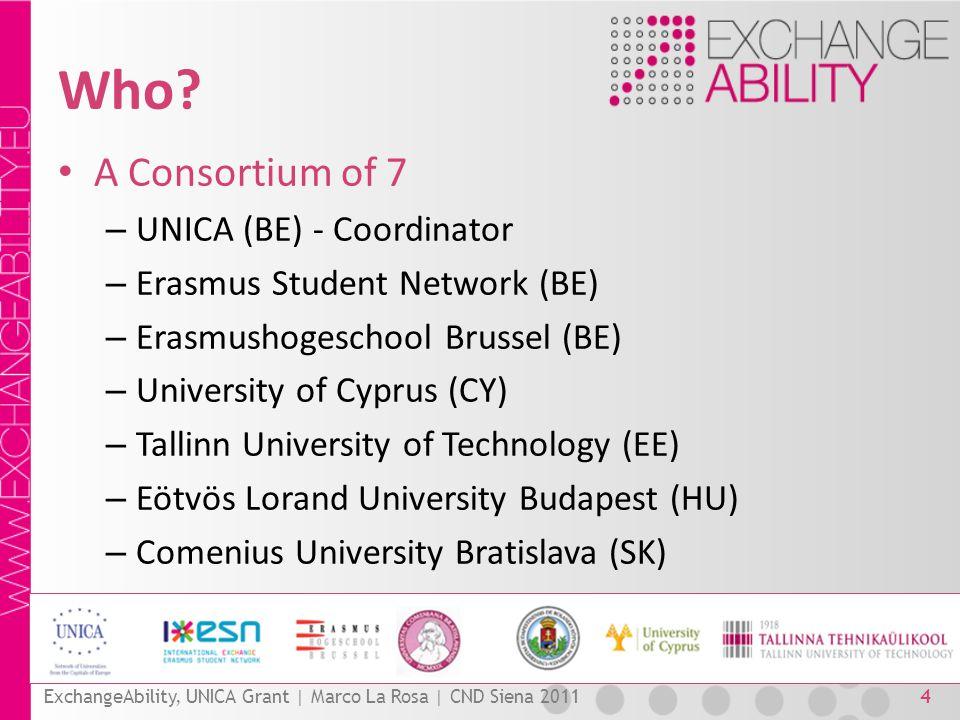 Who? A Consortium of 7 – UNICA (BE) - Coordinator – Erasmus Student Network (BE) – Erasmushogeschool Brussel (BE) – University of Cyprus (CY) – Tallin