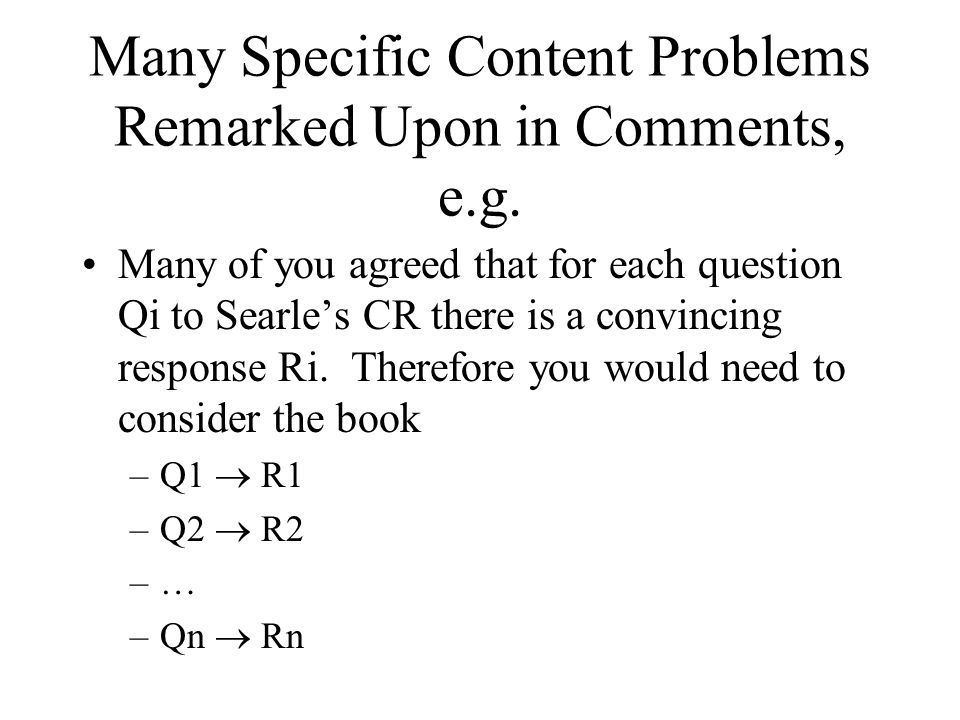 Many Specific Content Problems Remarked Upon in Comments, e.g.
