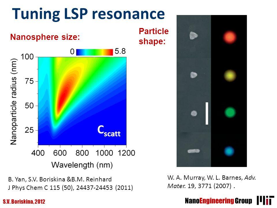 S.V. Boriskina, 2012 Tuning LSP resonance W. A. Murray, W. L. Barnes, Adv. Mater. 19, 3771 (2007). Particle shape: Nanosphere size: B. Yan, S.V. Boris
