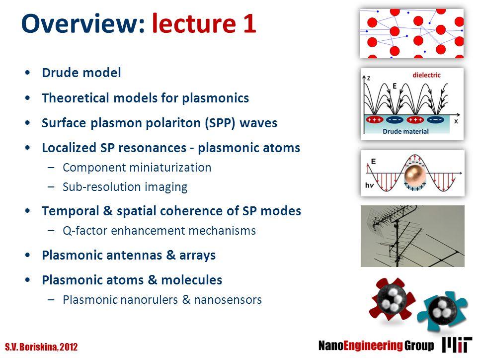 S.V. Boriskina, 2012 Overview: lecture 1 Drude model Theoretical models for plasmonics Surface plasmon polariton (SPP) waves Localized SP resonances -