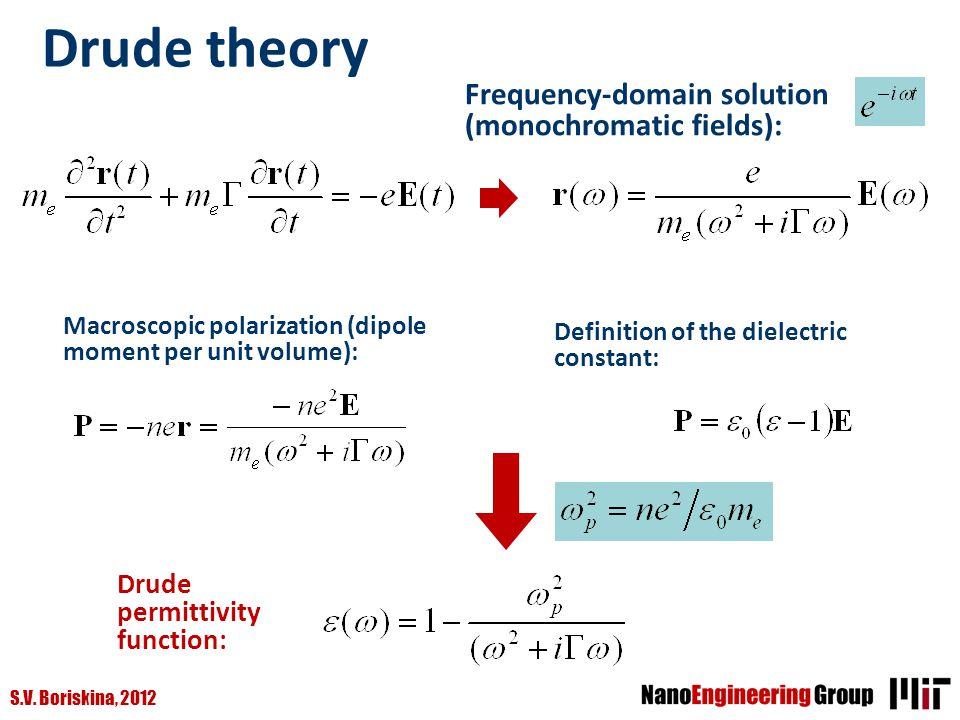 S.V. Boriskina, 2012 Drude theory Frequency-domain solution (monochromatic fields): Macroscopic polarization (dipole moment per unit volume): Definiti