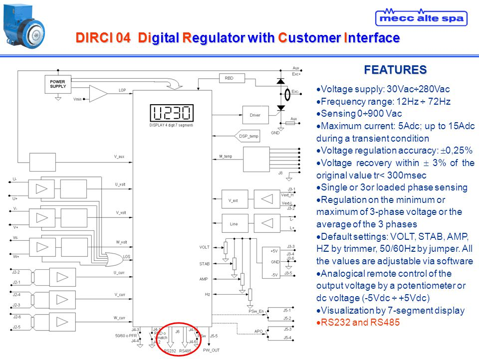 DIRCI 04Digital Regulator with Customer Interface DIRCI 04 Digital Regulator with Customer Interface FEATURES Voltage supply: 30Vac÷280Vac Frequency range: 12Hz ÷ 72Hz Sensing 0÷900 Vac Maximum current: 5Adc; up to 15Adc during a transient condition Voltage regulation accuracy: 0,25% Voltage recovery within 3% of the original value tr< 300msec Single or 3or loaded phase sensing Regulation on the minimum or maximum of 3-phase voltage or the average of the 3 phases Default settings: VOLT, STAB, AMP, HZ by trimmer, 50/60Hz by jumper.