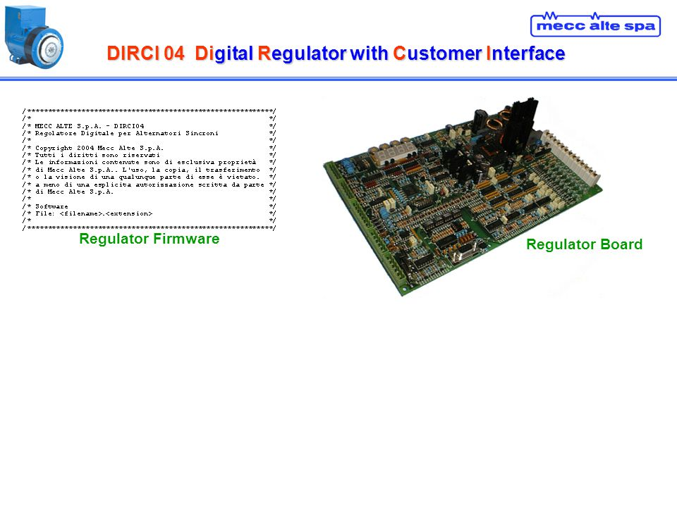 DIRCI 04Digital Regulator with Customer Interface DIRCI 04 Digital Regulator with Customer Interface Regulator Board Regulator Firmware