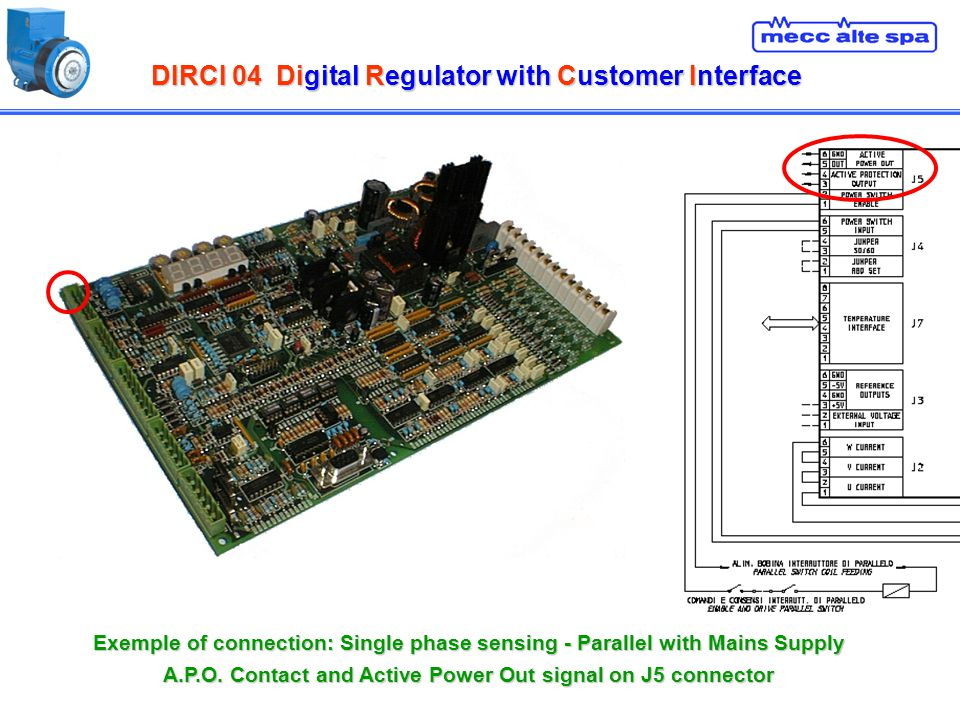 DIRCI 04Digital Regulator with Customer Interface DIRCI 04 Digital Regulator with Customer Interface Exemple of connection: Single phase sensing - Par