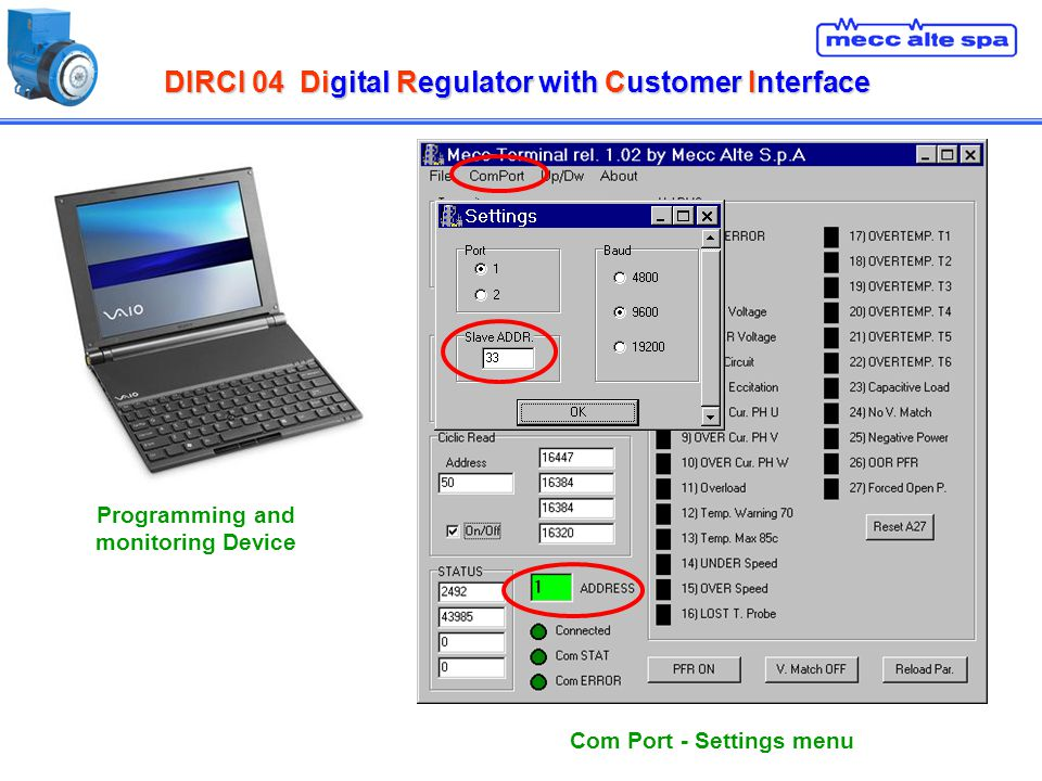 DIRCI 04Digital Regulator with Customer Interface DIRCI 04 Digital Regulator with Customer Interface Com Port - Settings menu Programming and monitori