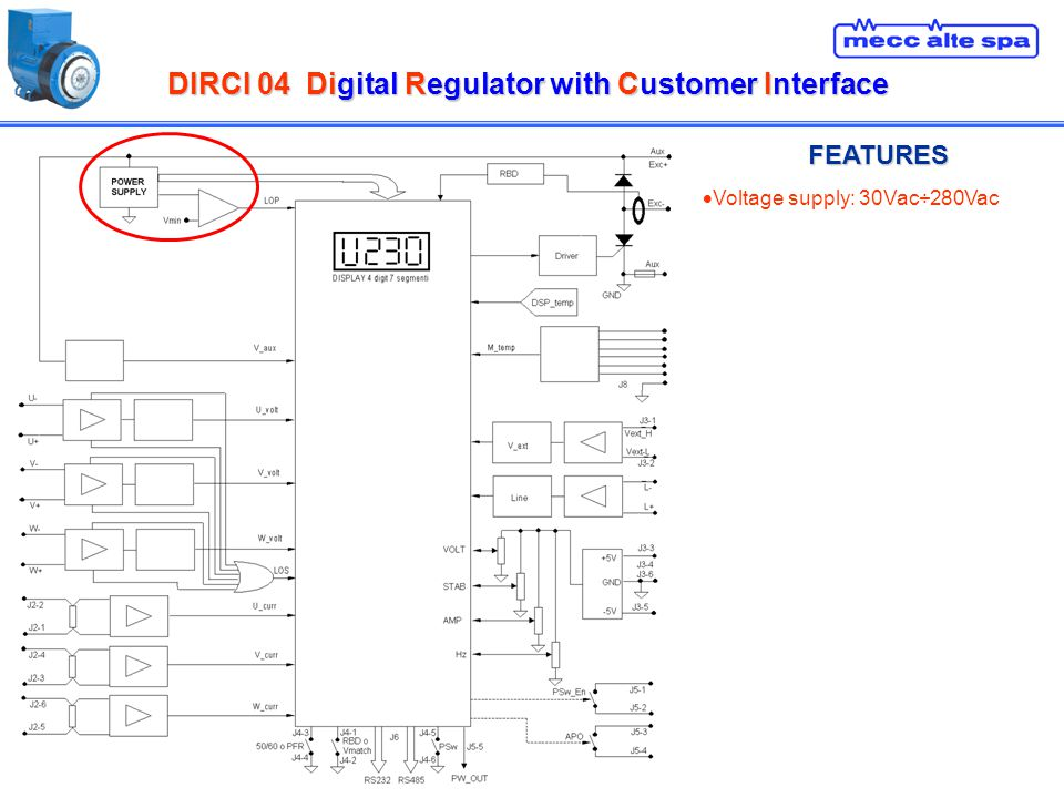 DIRCI 04Digital Regulator with Customer Interface DIRCI 04 Digital Regulator with Customer Interface FEATURES Voltage supply: 30Vac÷280Vac