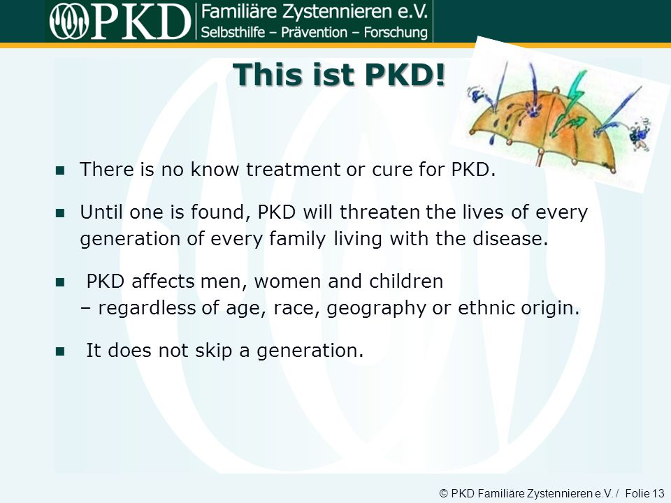 © PKD Familiäre Zystennieren e.V. / Folie 13 There is no know treatment or cure for PKD. Until one is found, PKD will threaten the lives of every gene