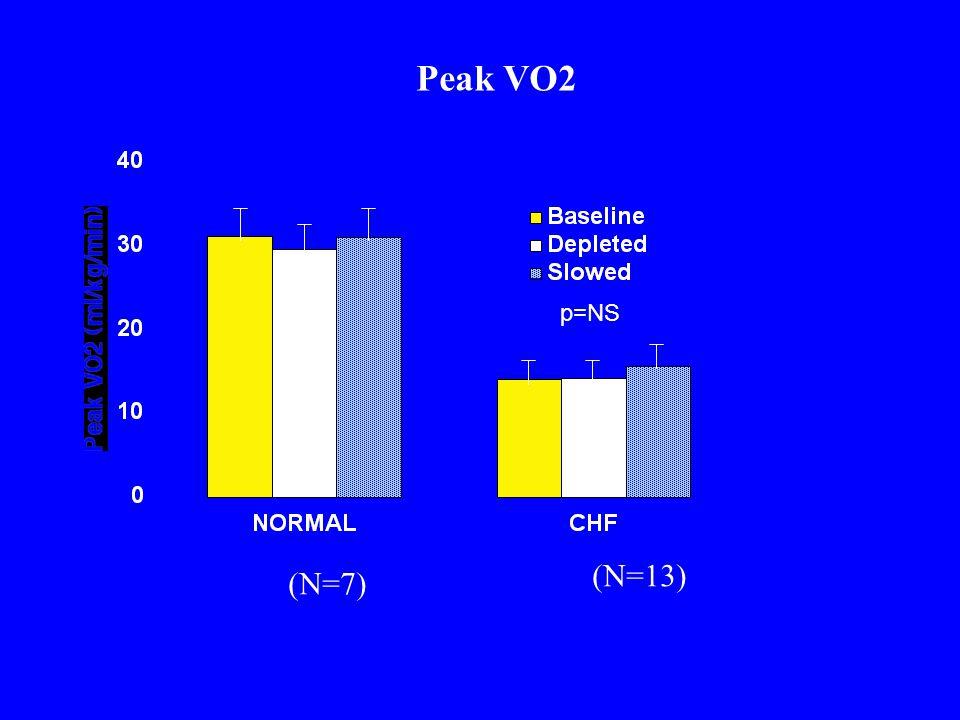 p=NS Peak VO2 (N=7) (N=13)