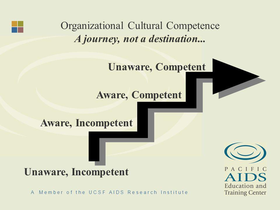 A M e m b e r o f t h e U C S F A I D S R e s e a r c h I n s t i t u t e Organizational Cultural Competence A journey, not a destination...