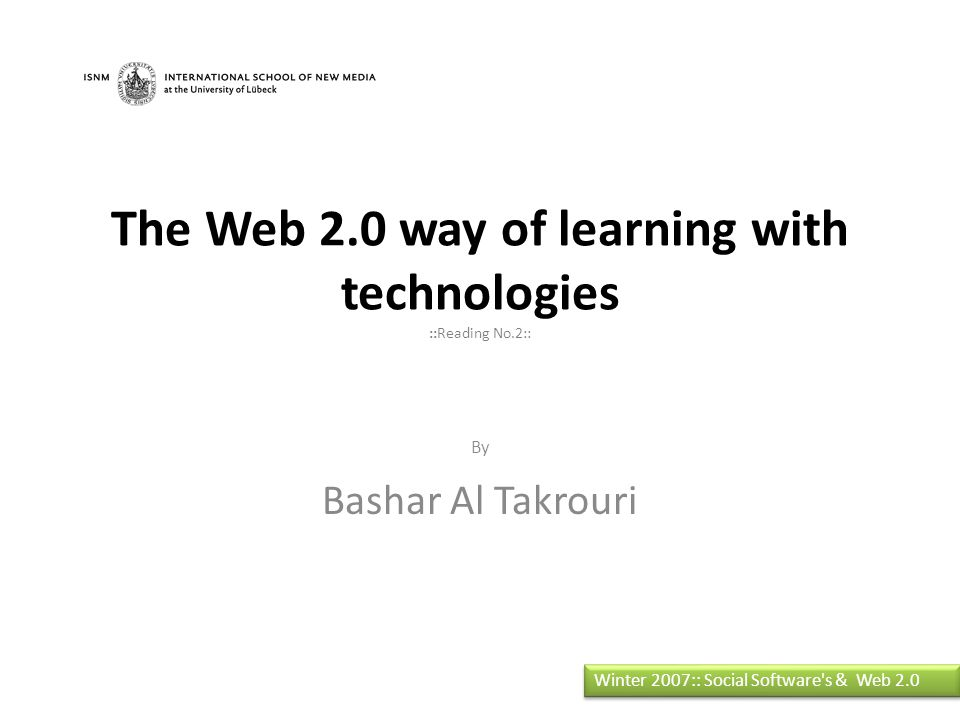 Web 2.0 for knowledge transfer Simplicity Convenient Remixing, microcontent, and transformation Creative Commons licenses social software Network effects Emergence arises in two forms: The creative aspect.