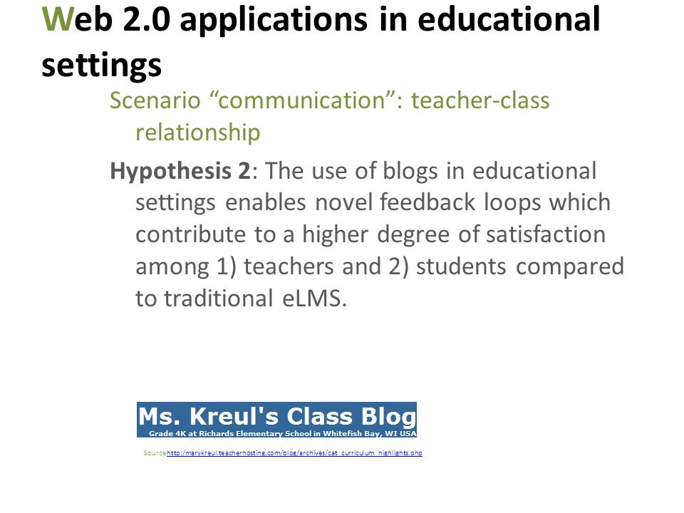 Web 2.0 applications in educational settings Scenario communication: teacher-class relationship Hypothesis 2: The use of blogs in educational settings