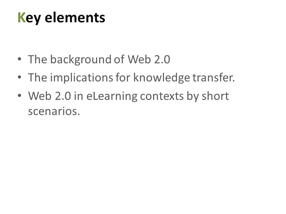 Web 2.0 in an eLearning scenario Teacher-teaching material relationship and student-teaching material relationship Teacher-class relationship and student-class relationship Class of students and teaching material