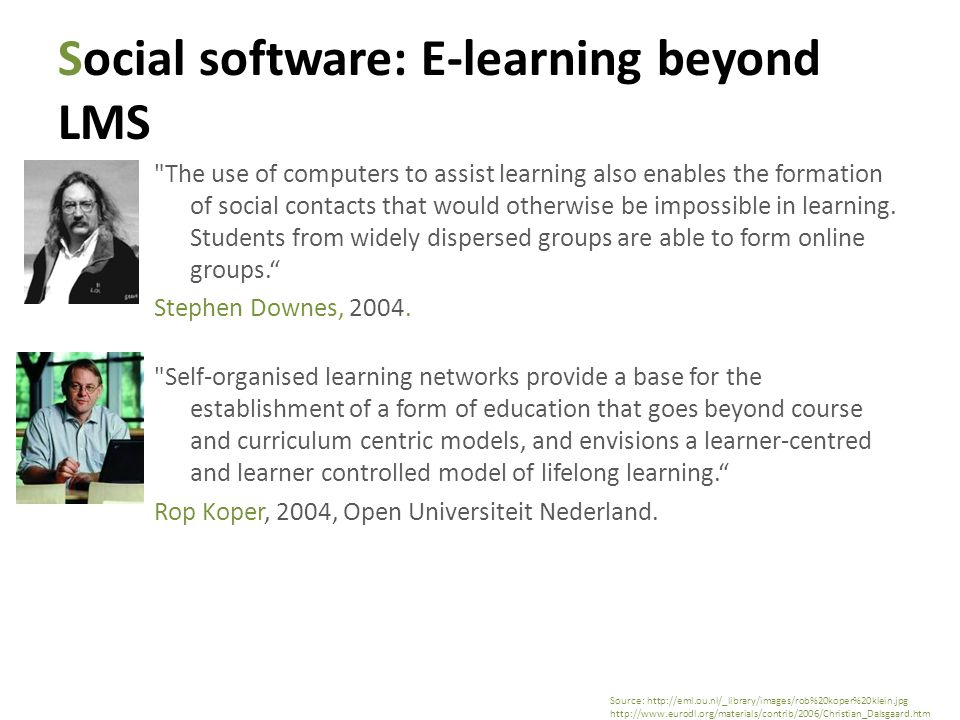 Social software: E-learning beyond LMS