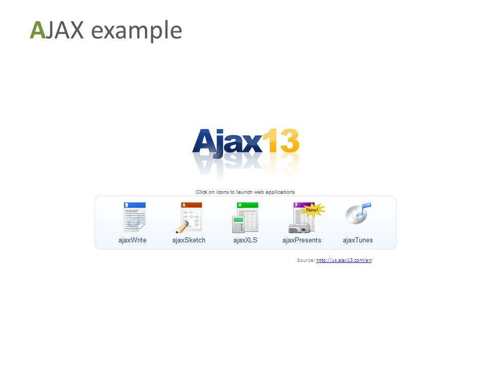 AJAX example Source: http://us.ajax13.com/en/http://us.ajax13.com/en