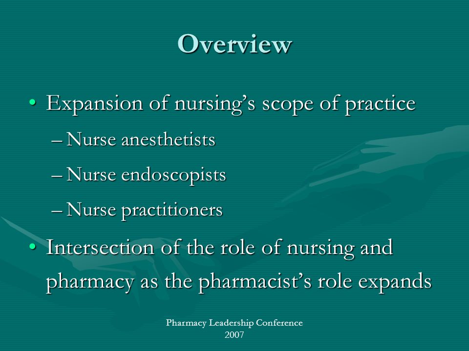 Pharmacy Leadership Conference 2007 Overview Expansion of nursings scope of practiceExpansion of nursings scope of practice –Nurse anesthetists –Nurse