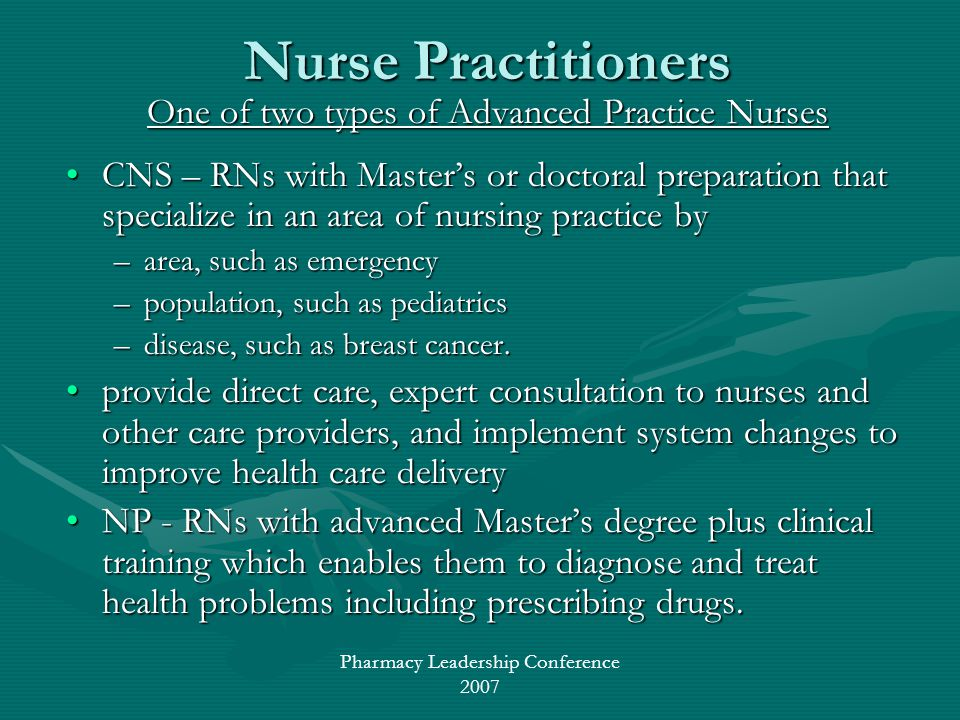 Pharmacy Leadership Conference 2007 Nurse Practitioners One of two types of Advanced Practice Nurses CNS – RNs with Masters or doctoral preparation th