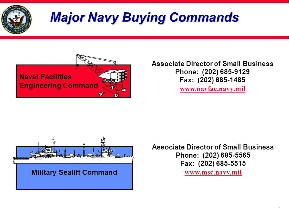 77 Naval Facilities Engineering Command Associate Director of Small Business Phone: (202) 685-9129 Fax: (202) 685-1485 www.navfac.navy.mil Military Sealift Command Associate Director of Small Business Phone: (202) 685-5565 Fax: (202) 685-5515 www.msc.navy.mil Major Navy Buying Commands