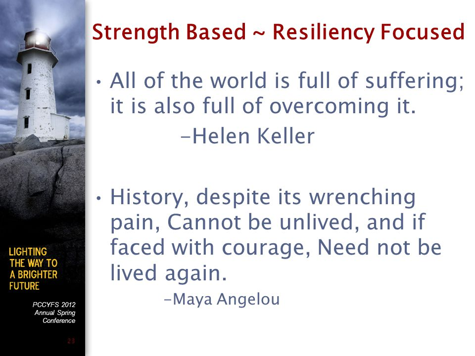 PCCYFS 2012 Annual Spring Conference 23 Strength Based ~ Resiliency Focused All of the world is full of suffering; it is also full of overcoming it. -