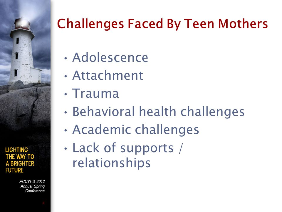 PCCYFS 2012 Annual Spring Conference 5 Adolescence Developmental stages (Erik Erikson) Brief review of the impact of motherhood on the developmental stages
