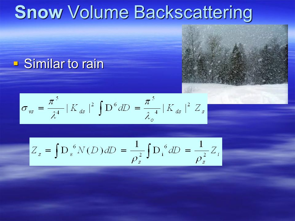Snow extinction coefficient Both scattering and absorption ( for f < 20GHz --Rayleigh) Both scattering and absorption ( for f < 20GHz --Rayleigh) for
