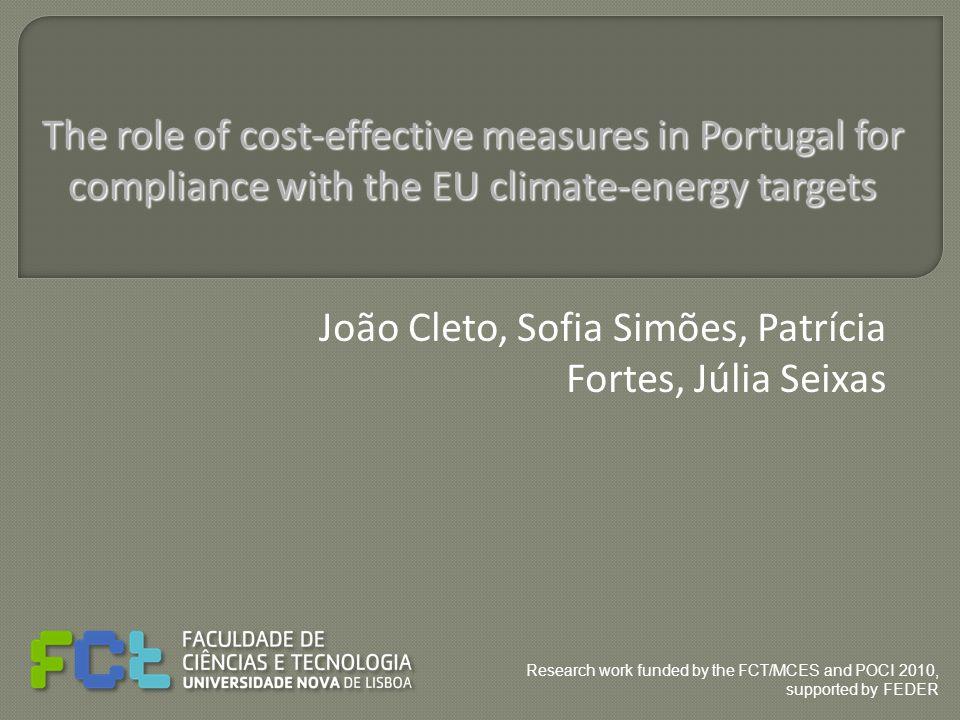 João Cleto, Sofia Simões, Patrícia Fortes, Júlia Seixas The role of cost-effective measures in Portugal for compliance with the EU climate-energy targ