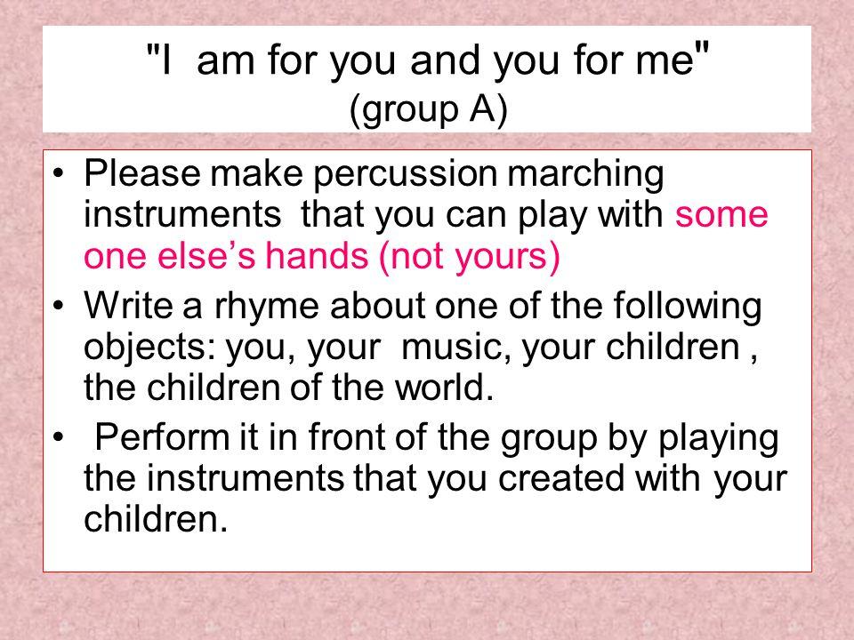 אנו ילדי שולחן 5הכנו למרפק ולברך We are the children from group 5 who prepared for our knee and elbow כלי הקשה שמנגנים בדיוק ולא בערך Percussion instruments that play exactly and not approximately מנגינות נחמדות לאורך כל הדרך Nice melodies all the way ולכן בעונג רב It is the pleasure of Yarin, Ofek,Aviad and Liraz ירין, אופק אביעד ולירז הנמצאים כאן Who are here ידגימו קופסאות לברכיים,צדפים למרפקים, To demonstrate how to play with boxes on the knees and Shells on your elbows and together we will dance with the boys and the girls וביחד נצא בריקוד עם כל הילדות והילדים The rhyme of this group