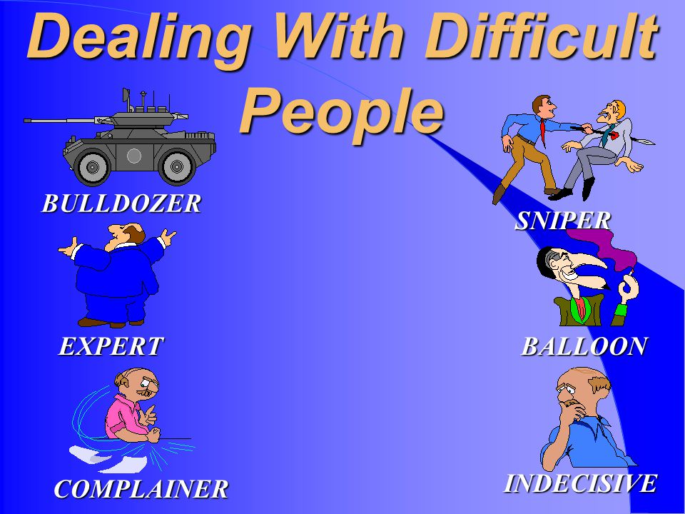 Dealing With Difficult People BULLDOZER EXPERT COMPLAINER SNIPER BALLOON INDECISIVE