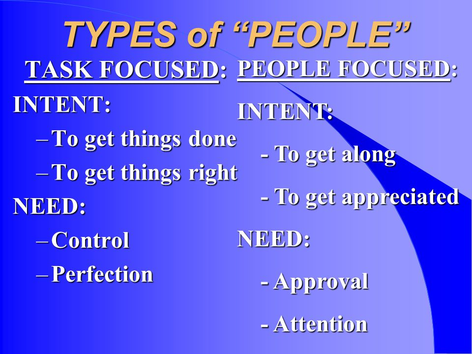 TYPES of PEOPLE TASK FOCUSED: INTENT: –To get things done –To get things right NEED: –Control –Perfection PEOPLE FOCUSED: INTENT: - To get along - To get appreciated NEED: - Approval - Attention