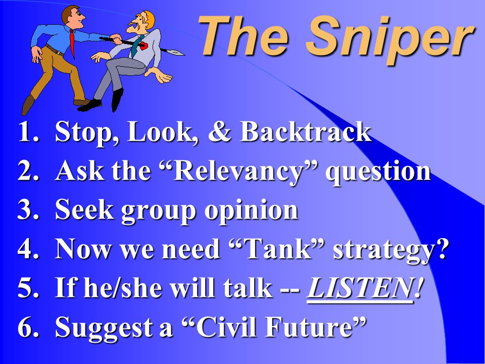 The Sniper 1. Stop, Look, & Backtrack 2. Ask the Relevancy question 3.