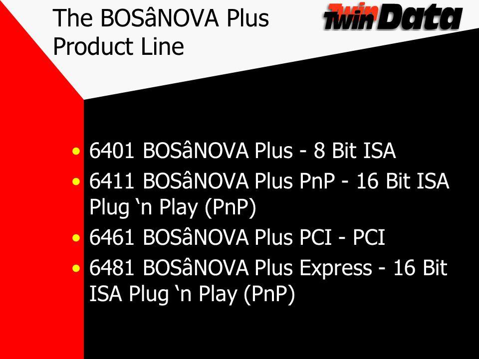 The BOSâNOVA Plus Product Line 6401 BOSâNOVA Plus - 8 Bit ISA 6411 BOSâNOVA Plus PnP - 16 Bit ISA Plug n Play (PnP) 6461 BOSâNOVA Plus PCI - PCI 6481 BOSâNOVA Plus Express - 16 Bit ISA Plug n Play (PnP)