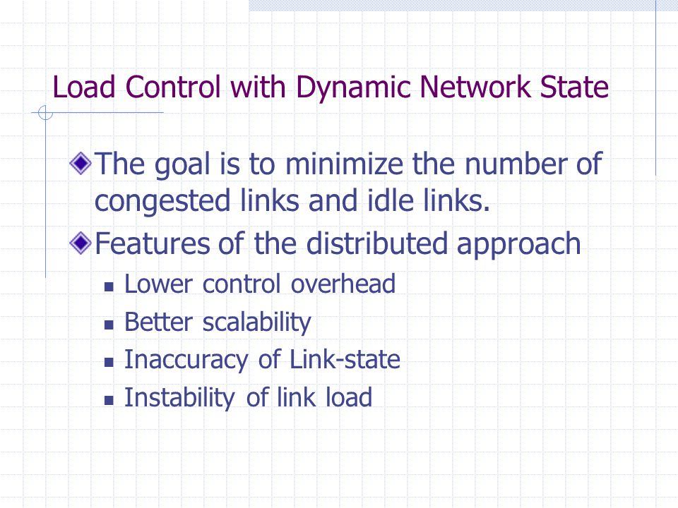 Instability of Dynamic Load Control The exchange of link-state is required for load distribution.