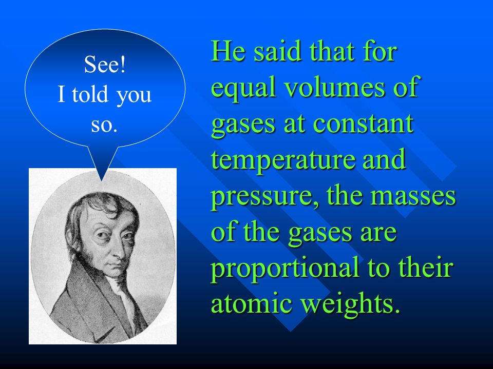 He said that for equal volumes of gases at constant temperature and pressure, the masses of the gases are proportional to their atomic weights. See! I