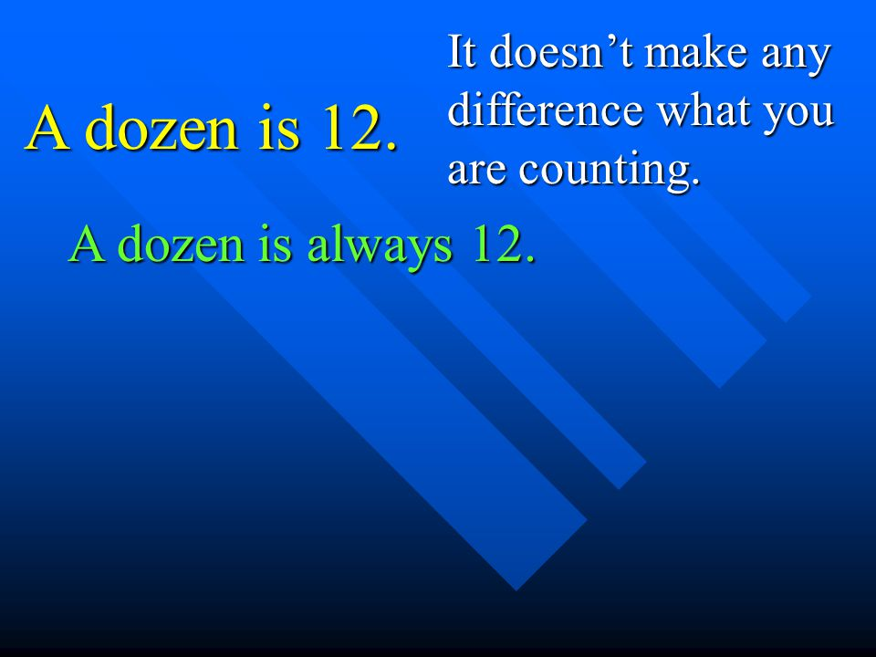 A dozen is 12. It doesnt make any difference what you are counting. A dozen is always 12.