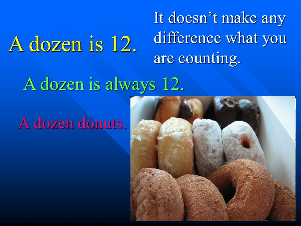 A dozen is 12. It doesnt make any difference what you are counting. A dozen is always 12. A dozen donuts.
