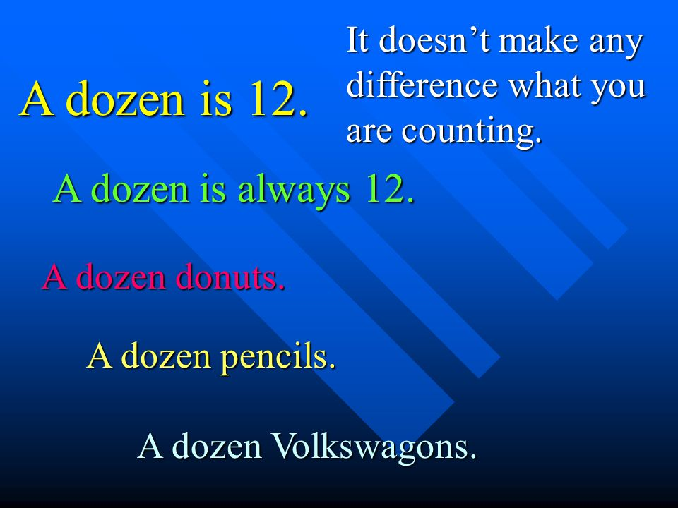 A dozen is 12. It doesnt make any difference what you are counting. A dozen is always 12. A dozen donuts. A dozen pencils. A dozen Volkswagons.