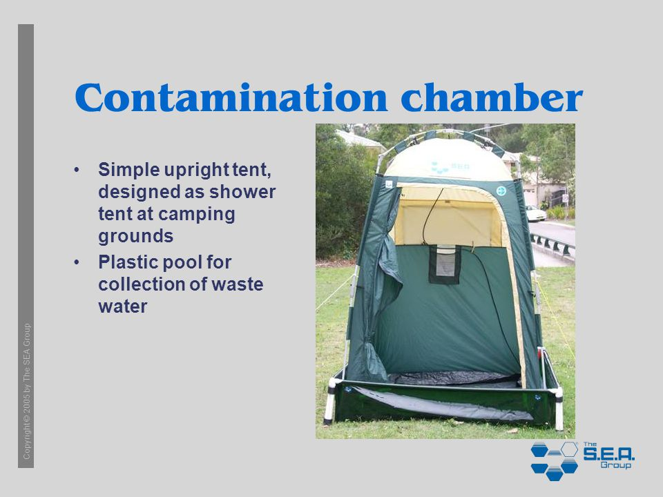 Copyright © 2005 by The SEA Group Contamination chamber Simple upright tent, designed as shower tent at camping grounds Plastic pool for collection of