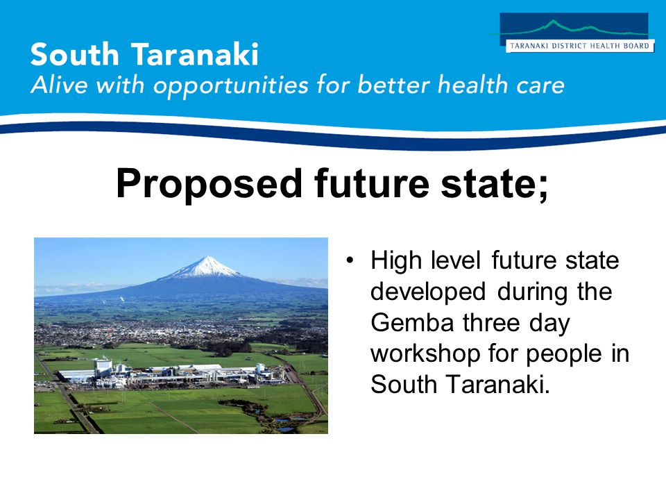 Proposed future state; High level future state developed during the Gemba three day workshop for people in South Taranaki.