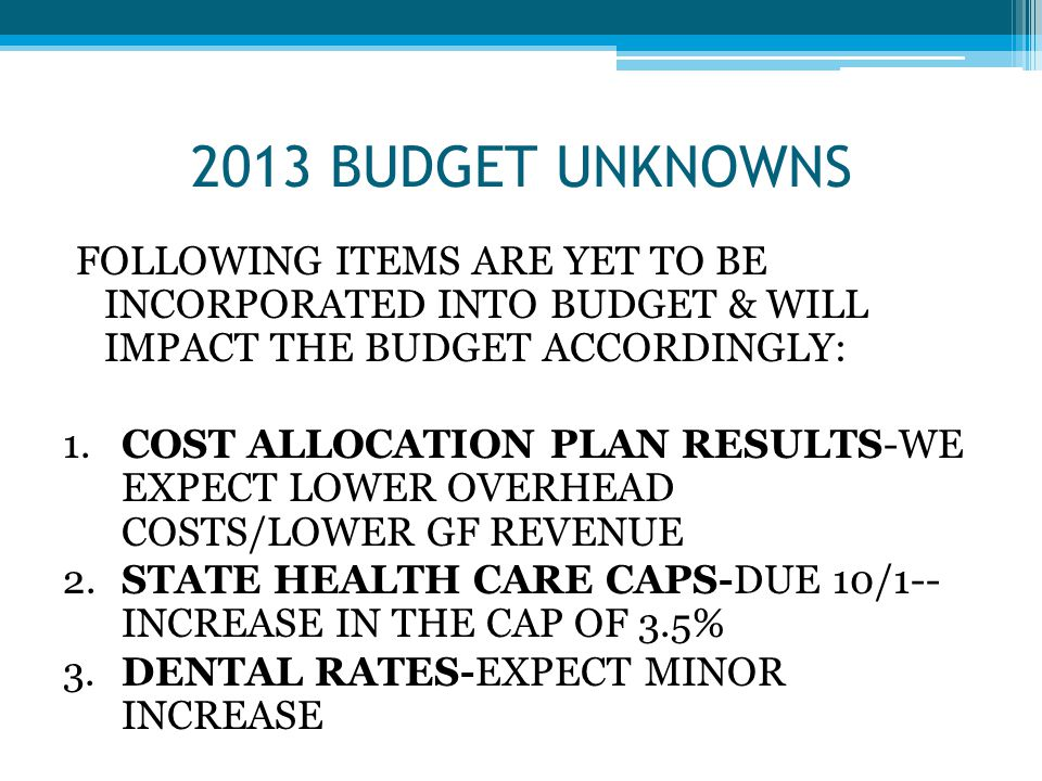 BUDGET UNKOWNS CONTINUED 4.