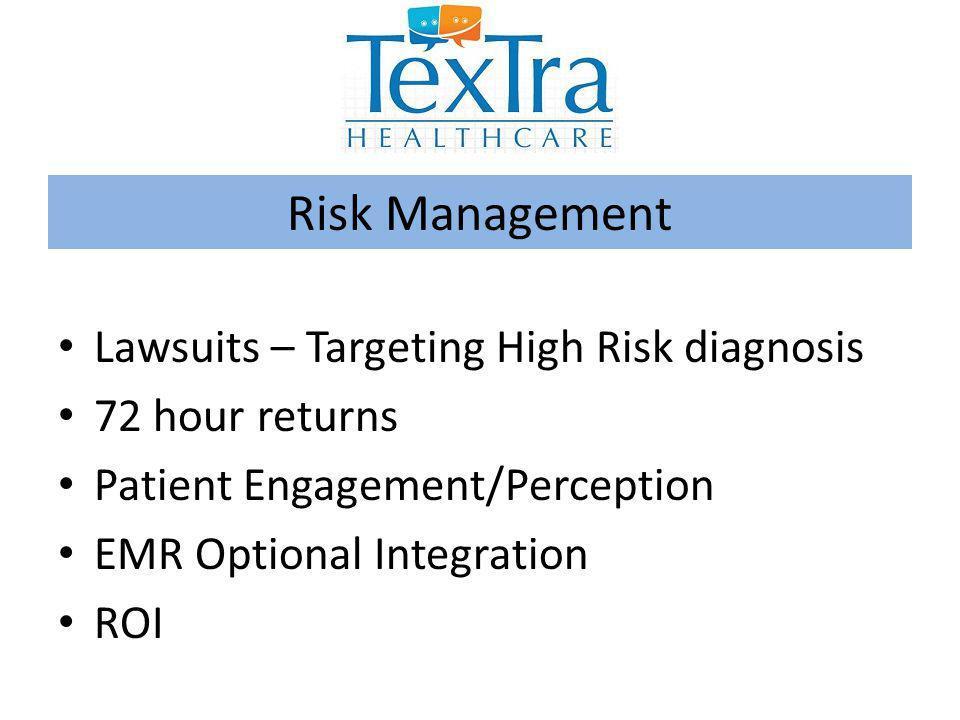 Lawsuits – Targeting High Risk diagnosis 72 hour returns Patient Engagement/Perception EMR Optional Integration ROI Risk Management