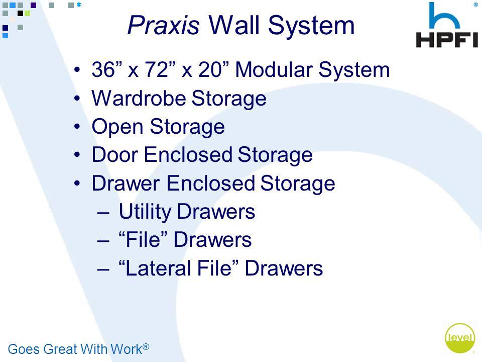Goes Great With Work ® Praxis Wall System 36 x 72 x 20 Modular System Wardrobe Storage Open Storage Door Enclosed Storage Drawer Enclosed Storage – Utility Drawers – File Drawers – Lateral File Drawers