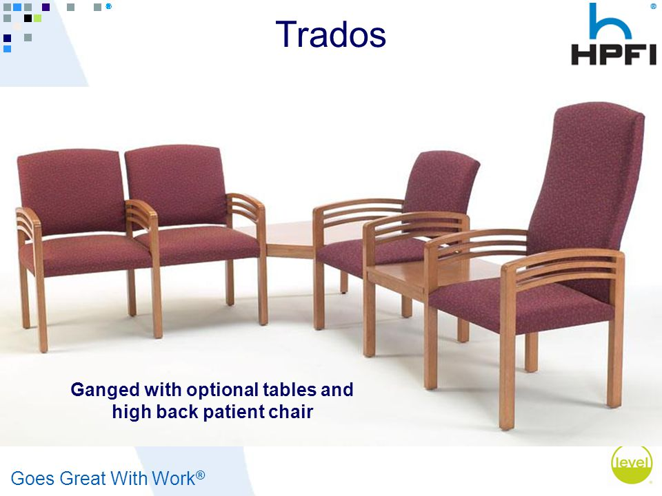 Goes Great With Work ® Ganged with optional tables and high back patient chair Trados